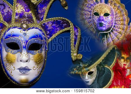 The collage of traditional venetian mask on blue background