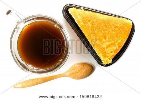 Chiffon cake garnished with foi thong or golden thread with a cup of coffee on white background