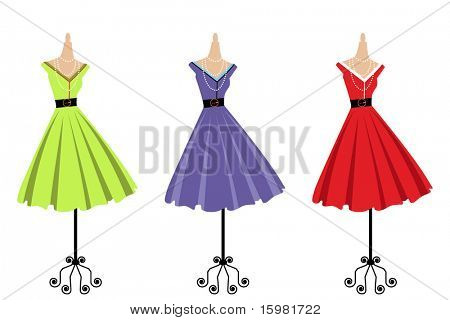 retro dresses on bodyforms three color choices