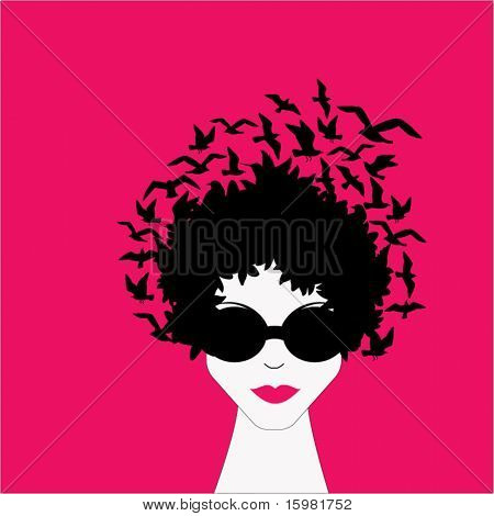 Afro woman - birds in hair - all separate elements