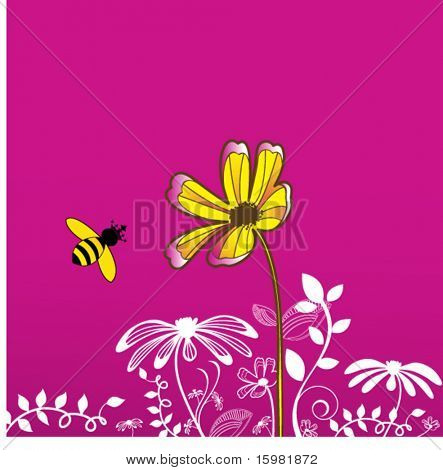 Pretty flower with funky bee with crown on head