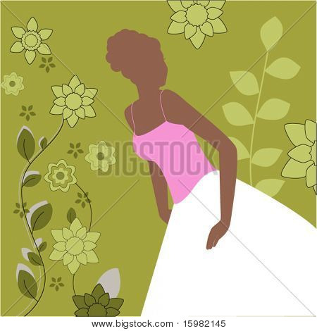 Bride or grad silhouette with funky flowers