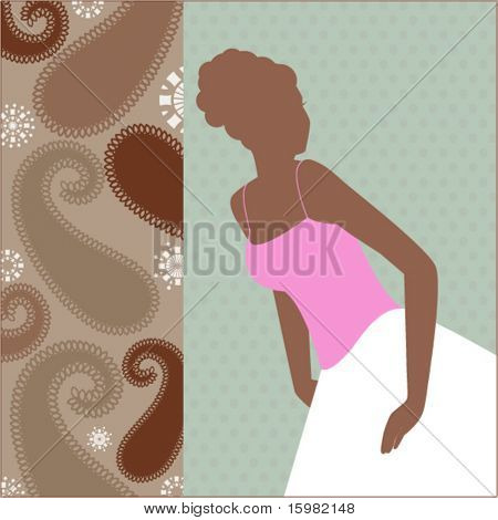 Bride or grad silhouette with paisley panel
