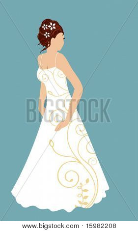 bride isolated with  embroidery on her gown