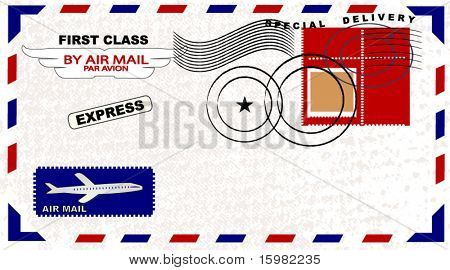 Air Mail envelope with postage