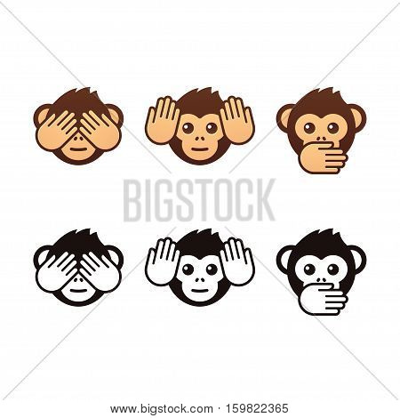 See no evil hear no evil speak no evil. Three wise monkeys vector icons. Color and black and white version.