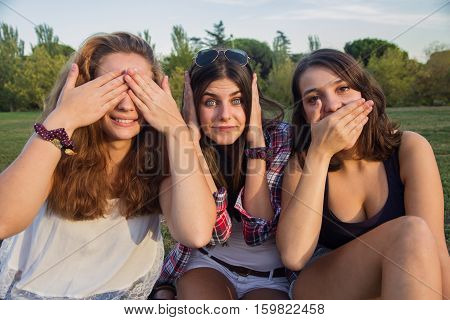 Girls enjoying while making silly in the park. They are making jokes and grimaces enjoying holiday. They are friends.