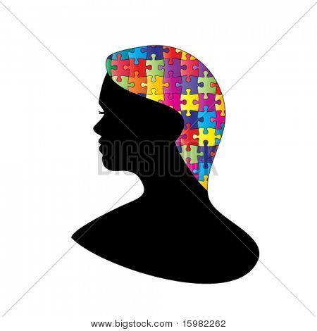 Woman profile puzzle