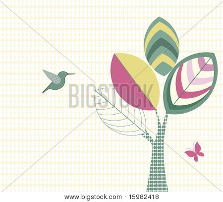 Funky tree bird pattern butterfly