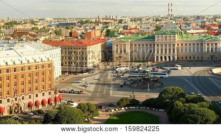 Panoramic View Of Saint Isaac's Square In St.petersburg, Russia. Photo Taken From The St. Isaac's Ca
