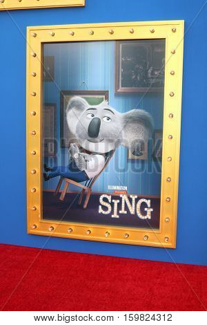 LOS ANGELES - DEC 3:  Sing Poster Featuring Buster Moon at the