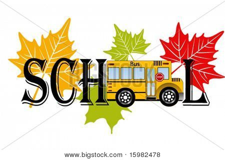 Word SCHOOL - school bus in place of