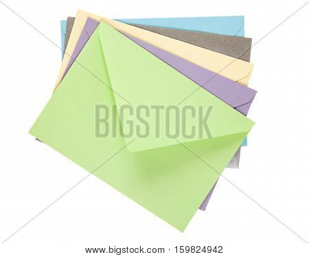 Multicolored paper letters isolated on white background