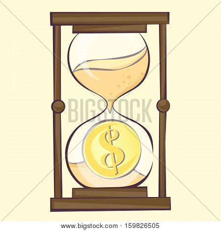 Time is money concept hourglass cartoon illustration with dollar. Sandglass retro style vector image