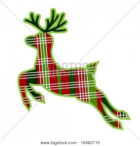 Christmas plaid reindeer with outline