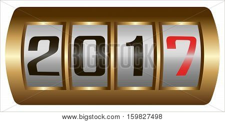 Concept New Year 2017.Close Up of The Digits of A Mechanical Counter, Which Counts to 2017, vector new year