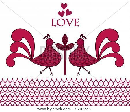 folk-art love birds