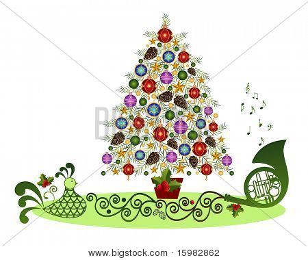 christmas scene: decorated tree with tree-skirt and elements hen horn and musical notes