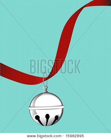 jingle bell on ribbon  - copyspace