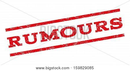 Rumours watermark stamp. Text tag between parallel lines with grunge design style. Rubber seal stamp with unclean texture. Vector red color ink imprint on a white background.
