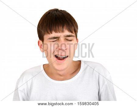 Teenager Yawning Isolated on the White Background