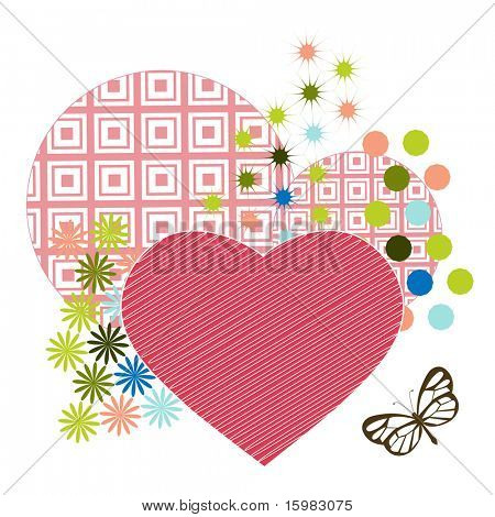 heart with scribbles and geometric circles and other shapes butterfly