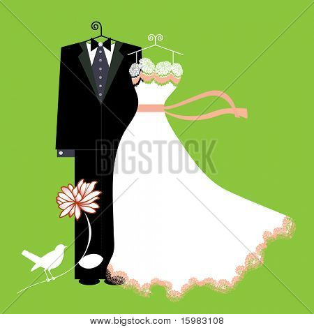 bride and groom suit and dress with bird (layered) Stock Vector ...