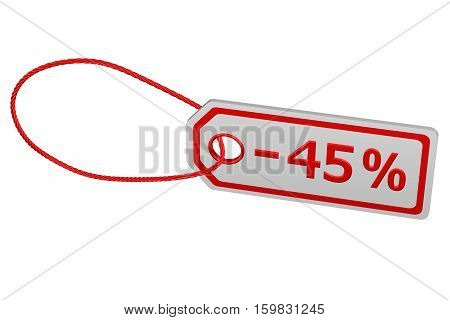 Discount - 45 % tag isolated on white background. 3D rendering.