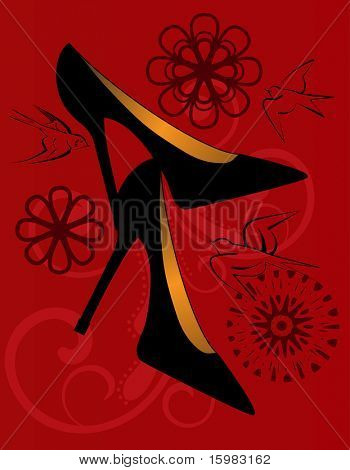 black high heeled shoes with birds flowers and flourish