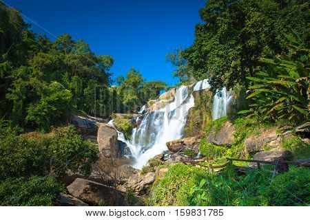 Mae Klang waterfall in doi-inthanon Chiangmai Thailand One of the famous waterfalls of Chiang Mai.