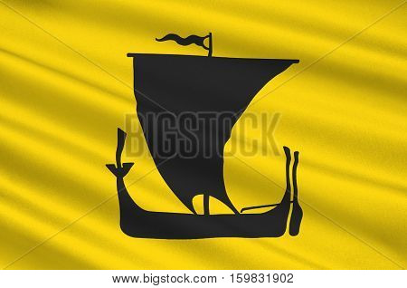 Flag of Nordland is a county in Norway in the Northern Norway region. 3d illustration