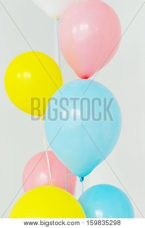 colored balloons on a white background happy children's birthday party childhood