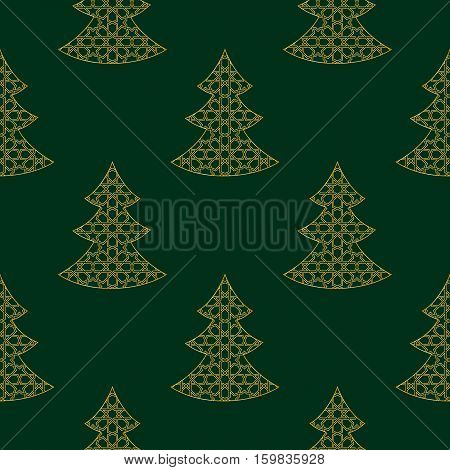 Seamless Christmas Gold Tree isolated on Green Background. Vector Illustration