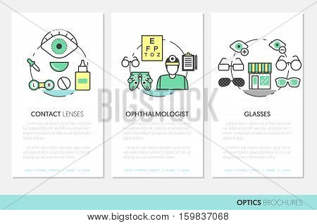 Optician Thin Line Vector Brochures and Business Cards Set with Optometry Technology and Eyeglasses