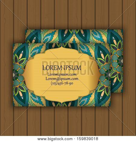 Vector Vintage Visiting Or Business Card Set. Floral Mandala Pattern And Ornaments.