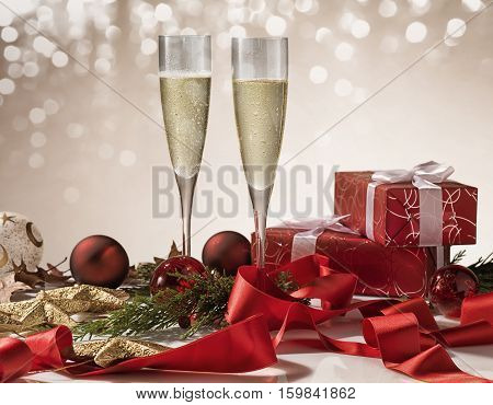 Christmas Celebration with 2 Champagne glasses in Christmas setting