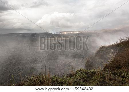 View of the smoke from  Kilauea Caldera in Big Island, Hawai