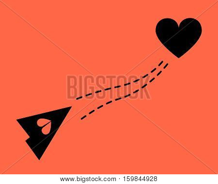 Paper airplane with dotted line and heart. Flat style.