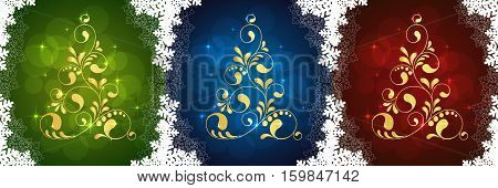 Abstract Christmas tree. Greeting, invitation card. Simple decorative green blue red and gold. vector illustration