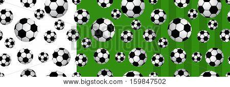 Set of seamlesses football balls isolated on white background. Vector illustration