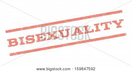 Bisexuality watermark stamp. Text tag between parallel lines with grunge design style. Rubber seal stamp with scratched texture. Vector salmon color ink imprint on a white background.