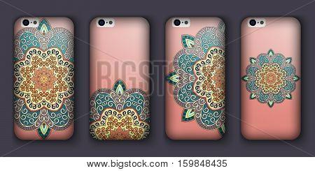 Phone Case Design Set. Vintage Decorative Elements. Hand Drawn Background. Islam, Arabic, Indian, Ot