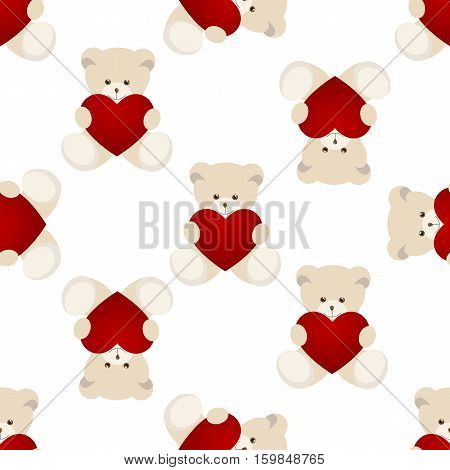 Teddy Bear Valentines Day Card isolated on white background. Vector illustration