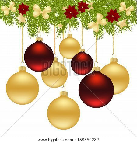 Merry Christmas Card of Gold and Red Balls  Isolated on white Background. Vector Illustration