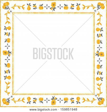 Scalable vectorial image representing a frame with fruits, isolated on white.