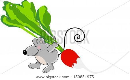 Scalable vectorial image representing a little mouse carrying radish, isolated on white.