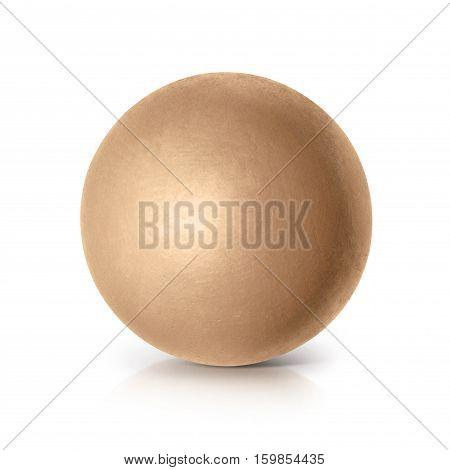 Golden ball 3D illustration on white background