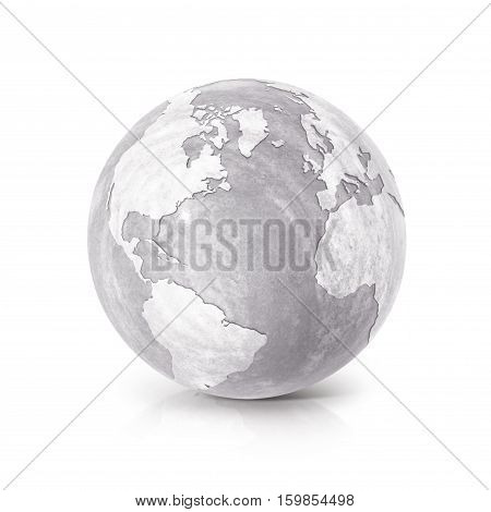 Cement globe 3D illustration North and South America map on white background