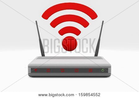 An internet wireless router (3d rendering). Isolated