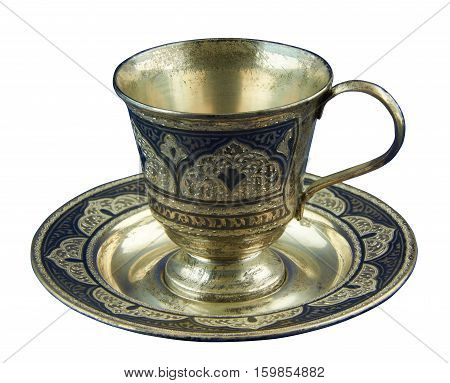 Metal coffee cup encrusted (decorated) embossed pattern. Isolated on a white background